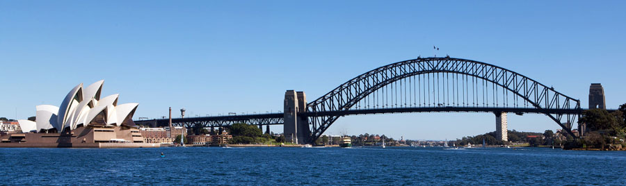 Skyline Sydney Australia. Panorama. Opera house and Sydney harbo